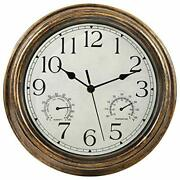 Retro Indoor/outdoor Wall Clock Bronze With Thermometer And Hygrometer Combo New
