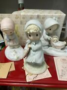 Precious Moments--monthly Figurines-january February March--in Box W/coa  Rpr