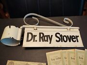 Vintage Doctors Office Double Sided Sign And Hanging Bracket-dr. Ray Stover