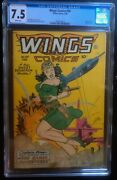 Wings 90 Cgc 7.5 Classic Bondage Cover. White Pages Golden Age
