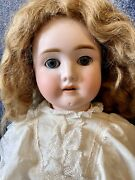 """Antique 24"""" German Bisque Adolf Wizlesnus Viola Doll W/mohair Wig And Great Outfit"""