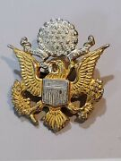 Fantastic Wwi Us Army Officers Hat Badge Pin Device .sterling Gilded Rare