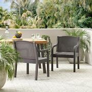 Covecrest Outdoor Faux Wicker Dining Chairs Set Of 2 Dark Brown