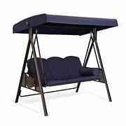 Purple Leaf 3-seat Deluxe Outdoor Patio Porch Swing With Weather Resistant Steel
