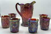 Imperial Purple Field Flower Water Set Pitcher 6 Tumblers Carnival Glass