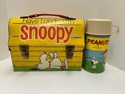 Have Lunch With Snoopy Peanuts Vintage 1968 Metal Dome Lunchbox And Thermos
