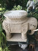 Vintage Wicker Elephant End Table Or Plant Stand Large White Boho