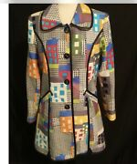 3 Sisters Coat/jacket Sz. S Colorful City Houses Fitted Pockets Button Up