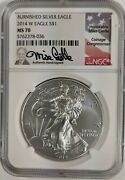 2014 W Burnished Silver Eagle Ngc Ms 70 Mike Castle Signed