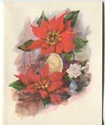 1 Vintage Christmas Glitter Red Poinsettia White Rose Greeting And 1 Santa Card