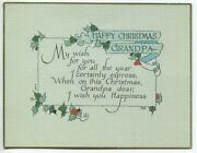 Vintage Art Deco 1930and039s Minimalist Grandpa Holly Leave Berries Old Greeting Card
