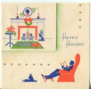 Vintage Christmas 1930and039s Red Blue Green Silhouette Scotty Dog Hearth Deco Card