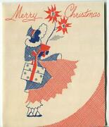 Vintage Christmas 1930and039s Art Deco Woman Shopping Poinsettia Art Greeting Card