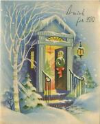 Vintage Christmas Blue Colors White Snow Brick Stairs Open Door Tree Wreath Card