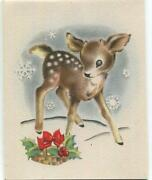 Vintage Christmas Baby Spotted Deer Buck Boy Snowflakes Holly Norcross Art Card