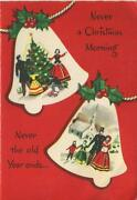 Vintage Christmas Bells Ornaments W/ Victorian Scenes Red White Greeting Card