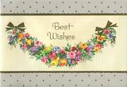 Vintage Best Wishes Embossed Fruit Roses Grapes Garland Lithograph Greeting Card