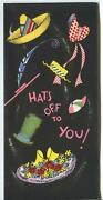 Vintage Party Birthday Hats Bonnet Fiesta Mexican Hat Brown Bear Greeting Card