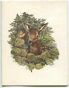 Vintage Deer Fawn Butterfly Woods Trees Nature Wild Flower Friendship Card Print