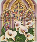 Vintage Stained Glass Church Windows Calla Lilies Flowers Easter Card Art Print