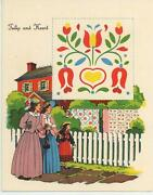 Vintage Red House Victorian Woman Girl Tulip Heart Quilt Fence Litho Card Print