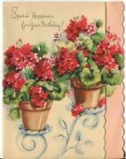 Vintage Garden Planters Pots Red Geranium Flowers On Plant Stand Greeting Card