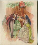 Vintage Christmas Glitter Victorian House Party Ball Gowns Piano Greeting Card