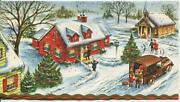 Vintage Christmas Gold Embossed Red House Village Church Auto Greeting Art Card