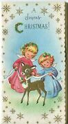 Vintage Christmas Girl Angels Gold Fawn Deer Gold Snowflakes Mid Century Card