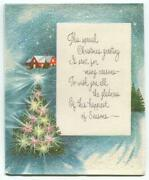 Vintage Christmas Tree Pink White Yellow Lights Blue Snow Glitter Norcross Card