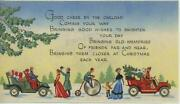 Vintage Christmas Victorian Woman Child Tricycle Model T Auto Car Greeting Card