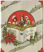 Vintage Christmas Victorian Carolers Singing Poinsettia Holly Art Greeting Card