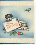 Vintage Christmas Scotty Dog Puppy Puppies Holly Ornaments Litho Greeting Card