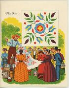 Vintage Country Auction Ohio Rose Quilt Victorian Girl Woman Litho Card Print