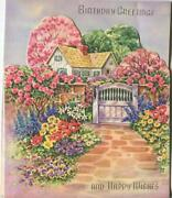 Vintage Roses Trees Garden Gate Flowers Topiary House Path Pop Up Greeting Card