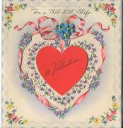 Vintage Rust Craft Valentine's Day 1944 Heart Flowers Lace Design Greeting Card