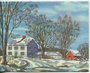 Vintage Christmas Rockport Ma Cape Ann Colonial Green House Snow Greeting Card