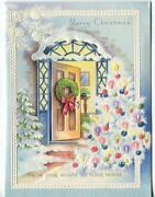 Vintage Christmas White Tree Candles Ornaments Pine Cone House Embossed Art Card
