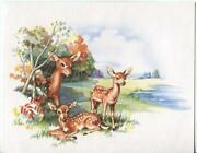 Vintage Doe Deer Fawn Pond Autumn Season Trees Nature Note Card Lithograph Print