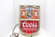 Vintage Coors Beer Original Breweriana Stained Glass Bar Wall Sign Coat Of Arms.