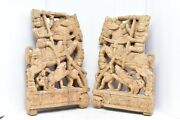 Atq Pair India Figure W Horses Carved Wood Wall Art Panels Architectural Corbels