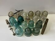 Vintage Glass Insulators Lot Of 18,different Brands Hemingray And More