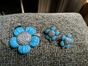 Suzanne Somers Turquoise Silver Flower Earrings And Pendant Cz's Sparkle