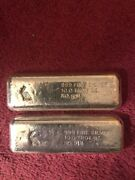 Vintage Ga Golden Analytical 10 Oz X 2 Poured Silver Bars .999 Sequential Number
