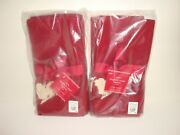 Pottery Barn S/8 Sleigh Bell Crewel Embroidered 20 Red Cotton Napkins Reindeer