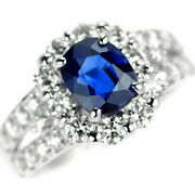 Pt950 Royal Blue Sapphire Diamond Ring 1.71ct D1.00ct - Auth Selby_japan