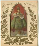 Vintage Christmas Infant Of Prague Gold Holly Embossed Lithograph Greeting Card