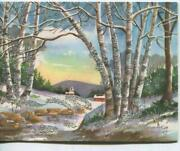 Vintage Christmas Country Cabin Mountains Woods Birch Trees Snow Greeting Card