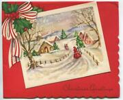 Vintage Christmas Snow Victorian Village Glitter Church Red Bow Embossed Card