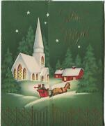 Vintage Christmas White Church Red House Horse Sleigh Green Trees Star Gold Card